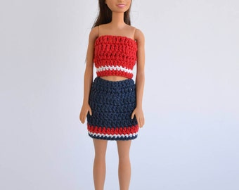 Set of clothes for Barbie, clothes doll, Barbie set, Barbie skirt, top Barbie and fashion doll, Barbie fashion