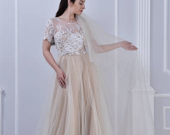 blush wedding dress, tulle skirt, lace top