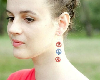 Wooden Dangle Earrings, Peace Sign Earrings, Earrings Peace Symbol, Red Blue Earrings, Earth Day Gift for Her, Profits Donated to Charity