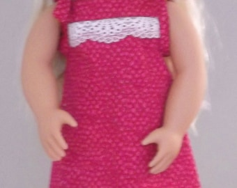 18 Inch Doll Clothes.  Fits AG, Journey, Generation, most 18 inch dolls. Three piece strawberry-pink dress, hat, shoes.
