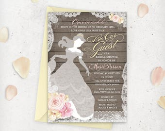 Belle Bridal Shower Invitation - Beauty and The Beast - Printable Digital File