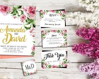 Wedding Invitation, Template Set, Floral Boho Wedding Invite, Printable Invitation, Bohemian Wedding, wedding vintage