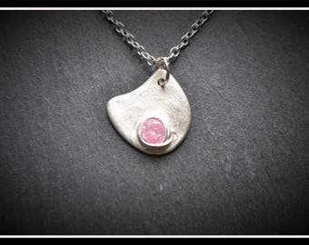 Almost Circle CZ Pendant, Silver Precious Metal Clay (PMC), Handmade, Necklace - (Product Code: ACM002-17)