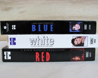 SET Three Colors Trilogy by Polish Director Krzysztof Kieslowski Blue White Red on VHS Tapes