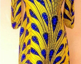 Studded off shoulder knee length ankara 3/4 sleeves dress