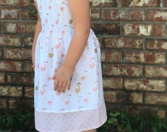 Girls Flamingo Smocked Dress
