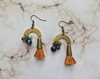 Tassel and beaded cluster earring