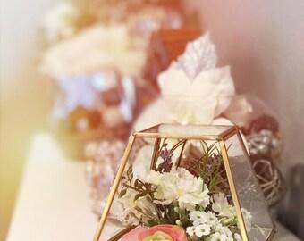 Floral Glass Terrarium Centerpiece (Pink/White), Wedding Centerpiece, Home Decor, Housewarming, Bridal Shower