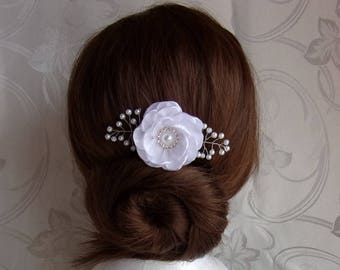Comb of marriage in white satin and pearls/Barrette with flower hair comb/kanzashi hair