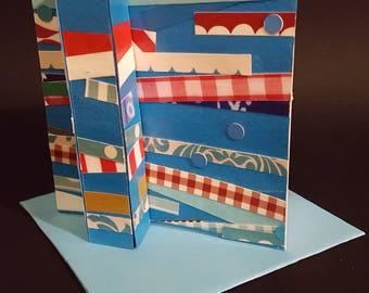 Handmade greeting card, 3D, Modern greeting card, Ready to frame greeting card, Greeting card as gift, OOAK greeting card