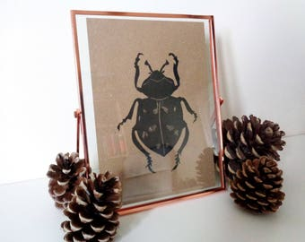 Insect Lino Cut Black Print