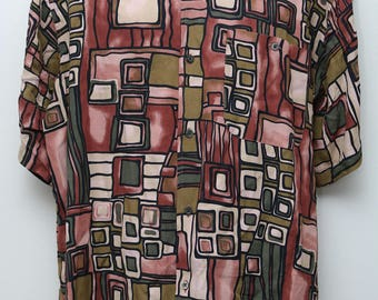 "90's Vintage ""MINOS"" Short-Sleeve Abstract Patterned Shirt Sz: LARGE (Men's Exclusive)"