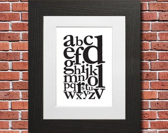 Alphabet (Garamond) - A3/A2 Poster / Wall Art / Print / Frame / Typography / Graphic / Artwork