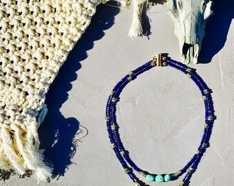 """Necklace """"Kalea"""" of ethnic style boho chic turquoise arizona and lapis lazuli"""