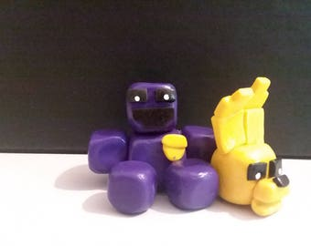 Purple Guy/Spring Bonnie clay figure figurine 2 inches tall