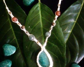 Amazonite Macrame Necklace/ Amazonite Pendant