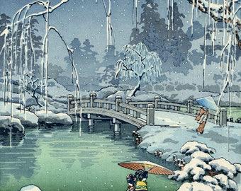 """Japanese Art Print """"Kyoto Maruyama, Spring Snow"""" by Tsuchiya Koitsu, woodblock print reproduction, asian art, cultural art, snowfall, pond"""