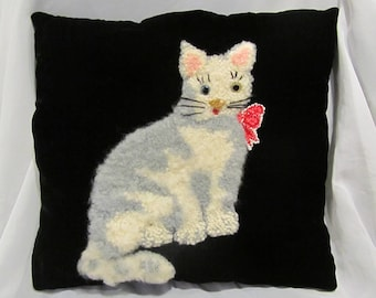 Sweet Vintage Hand Hooked Cat Kitten Pillow on Black Velvet~Glass Eyes~Knobby & Furry