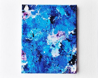 Blue, White, and Pink Abstract Acrylic Painting