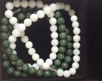 """White and Green Jade Necklaces """"Sister"""""""