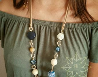 Long Blue Heart Necklace