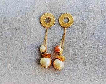 Orange ceramic handmade earrings