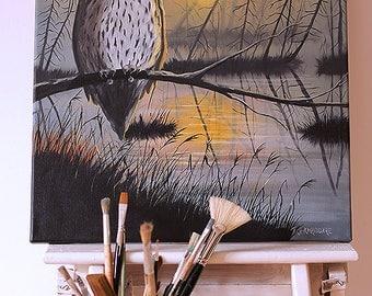 Owl in sunset - original painting