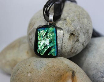 Blue green fused glass pendant with  necklace