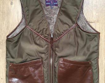 Eastman Leather Motorcycle (ELMC) Alpaca biker flight vest olive drab, Size 40