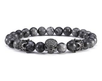 Labradorite Skull Antique Diamond Bracelet