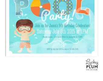 Pool Party Birthday Invitation / Pool Party Invite / Water Park Birthday Invite / Swim Birthday Invite / *Digital file*