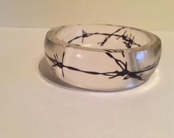 black Barb wire bangle bracelet