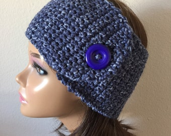 Blue Earwarmer, Free Shipping,   Wide Blue Denim Headwrap,  Button close ear warmer,  winter Headband, Messy Bun Earwarmer,  Headwrap
