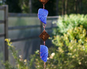 Wind Chime Cobalt Blue Sea Glass Copper Outdoor Handcrafted Windchimes