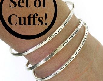 Personalized Bracelets, set of sterling silver cuff bracelets, hand stamped silver bracelets with your chosen message, bracelet set