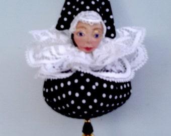 Christmas Ornaments -PIERROT MAUBLES-  1- black white dots, 1- black white swirls by Michelle Munzone,