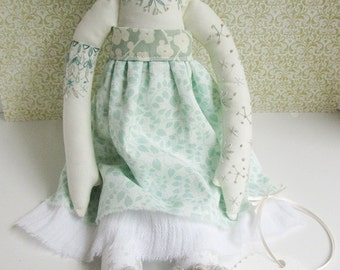 ON SALE! Embroidered cloth woodland doll Sage OOAK