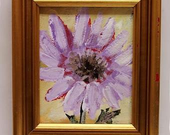 Lavender Daisy, Flower Painting, Floral Art,  Original Art, Home Decor, Office Art, Wall Art, Gift, Winjimir, Still Life, Gold Frame, Art