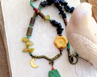 Owl Necklace, Nature Necklace, Hippie Jewelry, Tree Hugger, Boho Jewelry, Earthy Jewelry