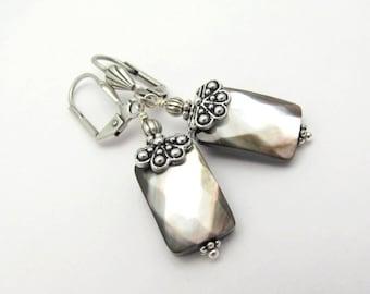 Gray Mother of Pearl Earrings, Gray Earrings, Shell Earrings, Bridesmaid Jewelry, Bride Bridal Wedding, Antiqued Silvertone Hawaiibeads