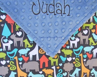 Personalized Baby Boy Blanket Animal World Blanket for Boys Elephant Cat Dog Bird Giraffe Embroidered Stroller Blanket - 30x40