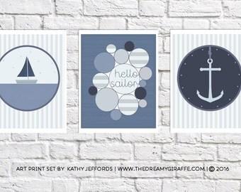 Nautical Nursery Decor Set Of Three Prints Sailing Artwork Baby Boy Room Wall Art Sailboat Nursery Anchor Print Navy Blue Nautical Bathroom