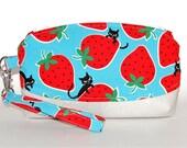 Strawberry Cats Wristlet Purse - Black Cats, Cat Purse, Glitter Vinyl, Japanese Fabric, Evening Bag, Strawberry Purse, Kokka Fabric, Handbag