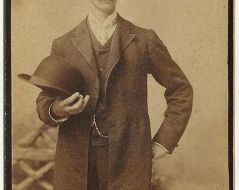 Vintage Baltimore cabinet card man hat dapper Holyland Maryland long coat photo Harry Miller