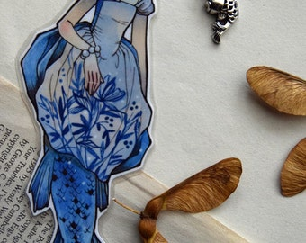 Bookmarks -  Laminated - Charm - Paper Goods - Handmade- Paper Craft  - Baroque Fashion - Mermaid Art - Mermaid - Blue - For Her