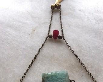 Long Gemstone Necklace, Amazonite necklace, Layered Necklace, Brooklyn Necklace