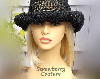 Crochet Wide Brim Hat Sun Hat, Beach Hat for Women, Wide Brim Black Hat, Womens Hats Womens Hat Women's Hat, Moncherie Hat