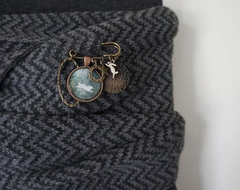 Small Brooch Pin, Rabbit Pin,  Gold Scarf Pin , Kilt Pin, Woodland Jewlery,  Costume Jewelry, Contemporary Brooch Pin, Gold Jewelry
