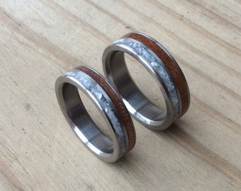 Titanium Rings, Wedding Rings, Wood Rings, Wood Inlay Rings, Mother of Pearl Rings, His and Hers Rings, Wedding Band Set, Kauri Rings