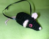 Black Mouse / Rat Ornament - Pink Ears